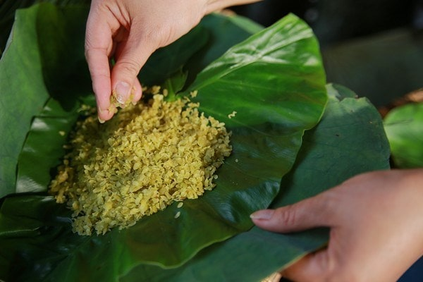 green sticky rice from vong village